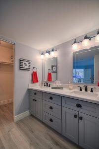 Grey Bathroom Cabinets, Black Drawer pulls faucet