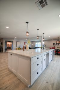 White Cabinets, Black Stainless Steel Appliances & Black drawer pulls and handles